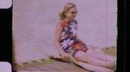 XY Fun on Giant Slide Circa 1968 (Vintage Film Home Movie) 1166 Stock Footage