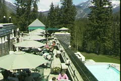 WorldClips-Banff Fairmont Cafe-pan Stock Footage
