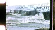 Storm Waves Crash Into Lighthouse Circa 1955 (Vintage Film Home Movie) 1172 Stock Footage