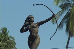 Diana statue/fountain Stock Footage