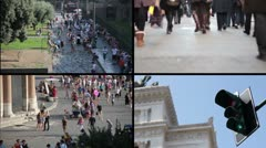 People walking in the street, Piazza Venezia and Trafficlights - multiscreen Stock Footage