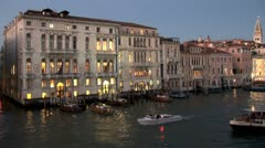 WorldClips-Grand Canal Boats at Dusk-pan Stock Footage