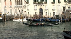 WorldClips-Grand Canal-Gondolas-Waterbus-zoom Stock Footage
