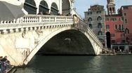 WorldClips-Rialto Bridge-Water Taxi-tilt Stock Footage