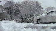 Stock Video Footage of shoveling autumn snow