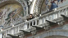 WorldClips-St.Marks Basilica Balcony-zoom-pans Stock Footage