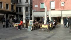 WorldClips-Venice Small Plaza Cafe-zoom Stock Footage