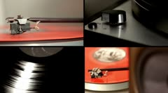 Turntables multiscreen Stock Footage