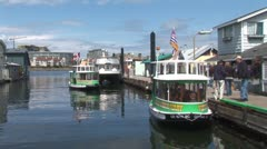 WorldClips-Ferries Cross at Fisherman's Wharf Stock Footage