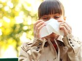 Sick woman blowing his nose into tissue, outdoors NTSC Stock Footage