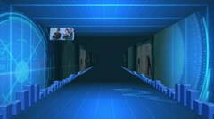Corridor of statistical data with videos about business Stock Footage