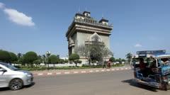 Patuxai in Vientiane, Laos Stock Footage