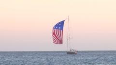 American Sailboat at Sea Stock Footage