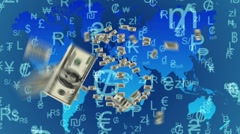 Dollar bills makes dollar symbol with currency background Stock Footage