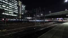 Stock Video Footage of Time Lapse of Trains Arriving and Departing at London's Paddington Station, UK