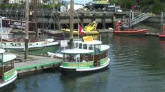 WorldClips-Victoria Harbour Ferry Leaves Stock Footage