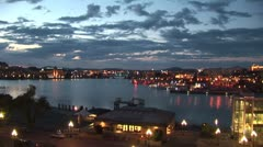 WorldClips-Victoria Inner Harbour Night-ws-pan Stock Footage