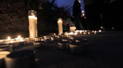 Candle light vigil for a Murdered Man - stock footage