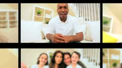 Montage of Multi Ethnic People Using Online Webchat Stock Footage