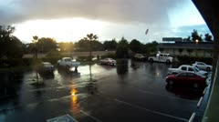 Redding parking lot rain storm time lapse sunset cutaway transition weather Stock Footage