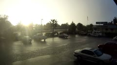 Redding parking lot rain storm time lapse sunset cutaway transition weather Stock Footage