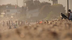 Seagull beach lifestyle lots people background hot summer day beach outdoors Stock Footage