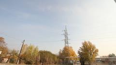 Industrial Suburban Area 05 factory tower haze Pan right - stock footage