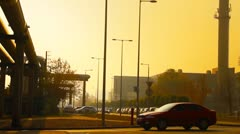 Stock Video Footage of Industrial Suburban Area 08 in haze stylized