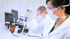 Young Student Doctors Studying in Research Lab - stock footage