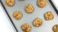 Oatmeal Chocolate Chip Cookies Stock Footage