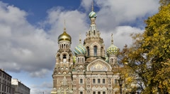 ZOOM: Church of the Savior on the Spilled Blood, St.Petersburg (timelapse) Stock Footage
