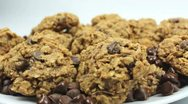 Chocolate Chip Oatmeal Cookies Rotate Stock Footage