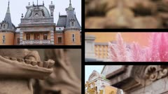 Tsar's castle of Massandra splitscreen Stock Footage