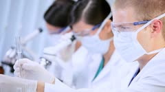Junior Doctors Studying in Hospital Laboratory - stock footage