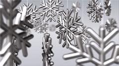 Steel snowflakes on strings Stock Footage