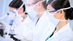 Three Student Doctors Working in Hospital Laboratory Stock Footage