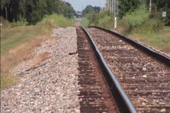Railroad track in simmering heat Stock Footage