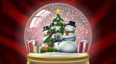 Looping christmas holiday snow globe Stock Footage