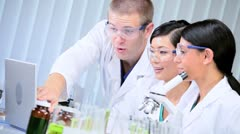 Male Doctor in Laboratory with Medical Students Stock Footage