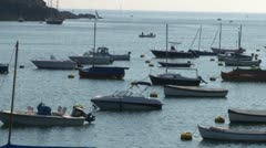 Boats Moored in Estuary Stock Footage