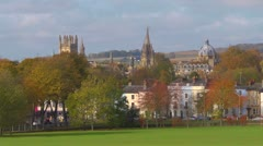 The dreaming spires of Oxford from South Parks, long lens. Stock Footage