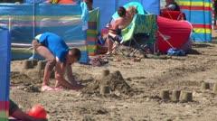 Making Sandcastles Stock Footage
