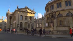 Oxford city UK.  Broad Street with the Sheldonian theatre. Stock Footage