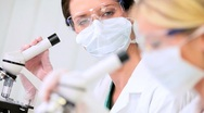 Research Assistants Using Laboratory Microscopes Stock Footage