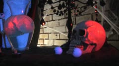 Halloween House Full of Decorations and Scary Spider webs and Skulls  Mummy i Stock Footage
