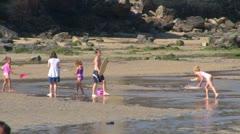 Children Surf Shallow Water Stock Footage