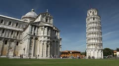 Leaning Tower in Pisa, Tuscany, Central Italy, Tourists Attraction, UNESCO - stock footage