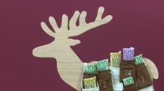 Euro bills in Advent Calendar Stock Footage