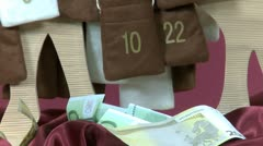 Euro bills out of Advent Calendar Stock Footage