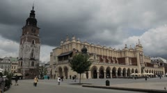 St. Mary's Basilica, Sukiennice, Street View of Krakow, Cloth Hall, Market Stock Footage
